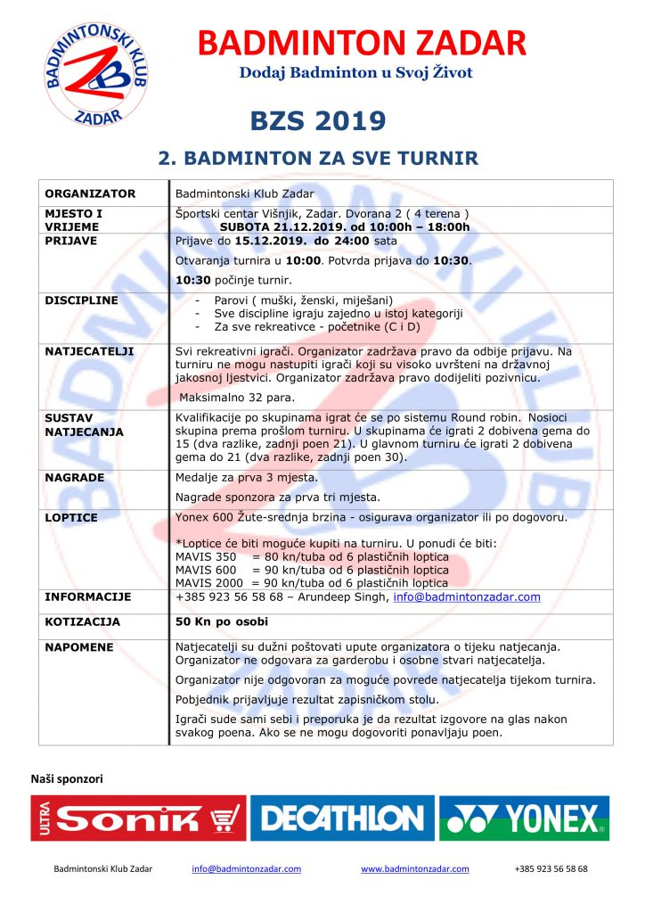 Badminton Za Sve zimski izdanje. turnir 2019