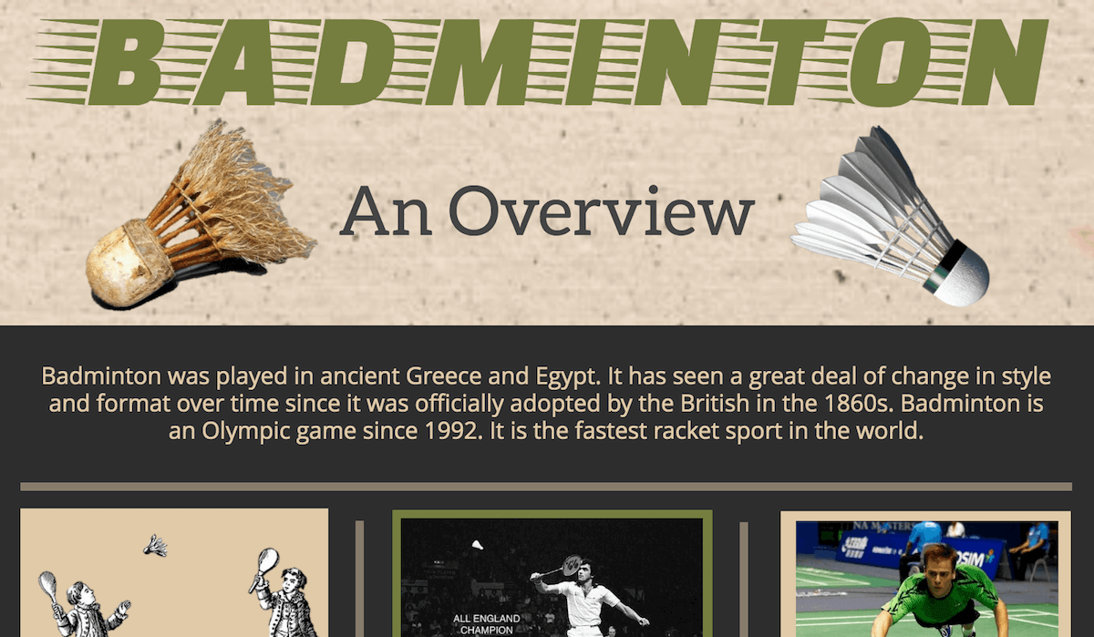 Badminton Infographics header